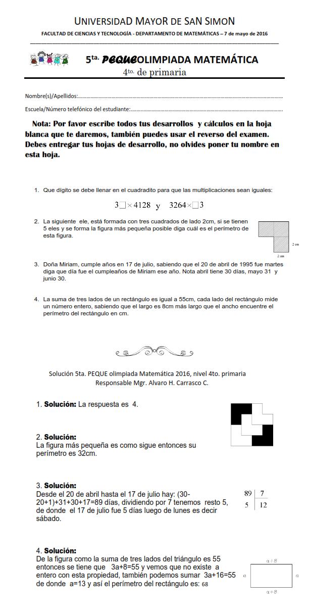 Cuarto de Primaria - Omat - Olimpiadas Matematicas Facultad de ...