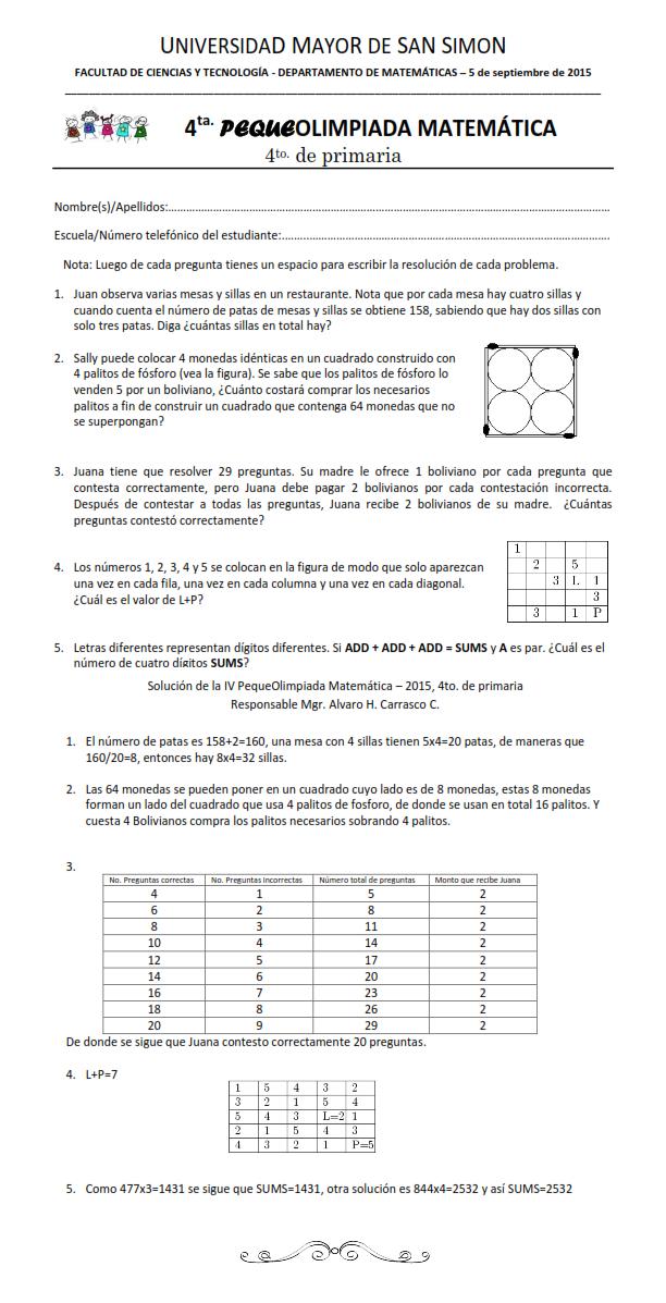 4 primaria - Omat - Olimpiadas Matematicas Facultad de Ciencias y ...